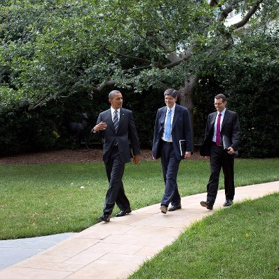 Photo: Photo of the Day: President Obama walks from the Oval Office to the South Lawn with Chief of Staff Jack Lew and Senior Advisor David Plouffe, Aug. 23, 2012. (Official White House Photo by Pete Souza) Check out more photos: http://wh.gov/photos