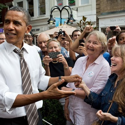 Photo: Photo of the Day: President Obama reacts after recognizing actress Sissy Spacek in Charlottesville, Virgina on August 29, 2012. The President happened upon Spacek while greeting people following a stop in the town. (Official White House Photo by Pete Souza) See more photos at http://wh.gov/photos