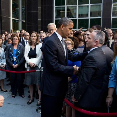 Photo: Photo: President Obama & Secretary Clinton greet employees after speaking to them at the State Department in Washington, D.C., Sept. 12, 2012. The President made the visit after Chris Stevens, U.S. Ambassador to Libya, and three others were killed in Benghazi, Libya, yesterday.  Earlier today, President Obama delivered remarks regarding the attack: http://wh.gov/Wjhm