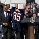 Photo: Former Chicago Bears coach Mike Ditka and defensive coordinator Buddy Ryan, right, present a jersey to President Barack Obama during the ceremony for the 1985 Super Bowl Champion Chicago Bears to celebrate the 25th anniversary of their Super Bowl victory, on the South Portico of the White House, Oct. 7, 2011. In 1986, the team's White House reception was canceled due to the Space Shuttle Challenger tragedy. (Official White House Photo by Pete Souza)