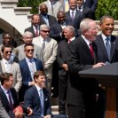 Photo: President Barack Obama welcomes the four-time Super Bowl Champion New York Giants to the South Lawn of the White House, June 8, 2012 to honor the team for their Super Bowl XLVI victory. (Official White House Photo by Pete Souza)