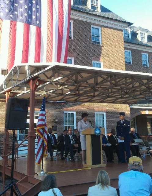 Valerie Jarrett speaks to new citizens in Alexandra, VA