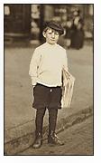 Lewis Hine photograph of news boy
