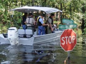 FEMA surveyors in boat