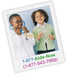 Pictured: Two smiling children. Text: Call our hotline – 1-877-Kids-Now (1-877-543-7669) for more information.