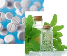 Photographs of pills, herbs and bottles