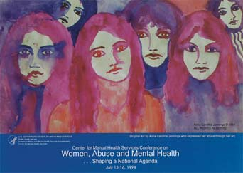 An image of a Center for Mental Health Services Conference poster, featuring a painting of six female faces by artist Anna Caroline Jennings