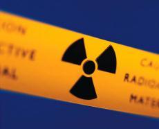 Photograph of a radioactive warning sign