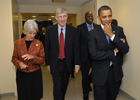 a photo of President Obama, Secretary Sebelius and Dr. Collins walking together.