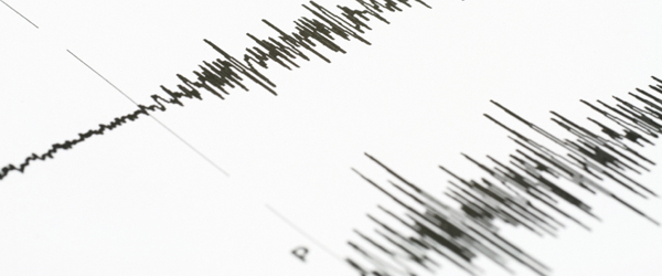A seismograph showing the seismic waves of an earthquake