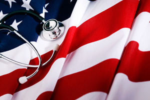 image of US flag and stethoscope