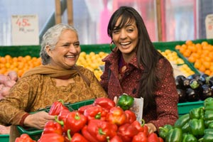2 women in the produce isle