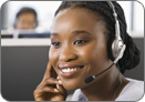 a woman in a call center talking on the phone