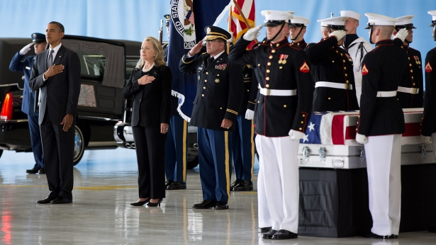 President Obama and Secretary of State Clinton at Andrews Air Force Base