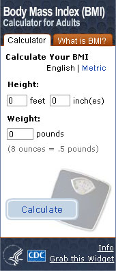 BMI For Adults Widget. Flash Player 9 is required.