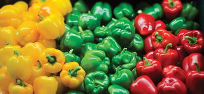 pimentones amarillos, verdes, y rojos