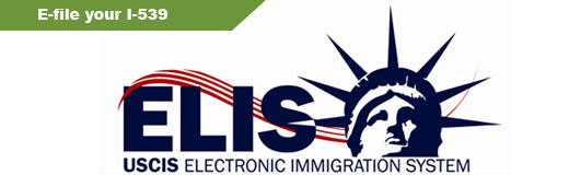 Banner ELIS logo and message to Efile your I-539