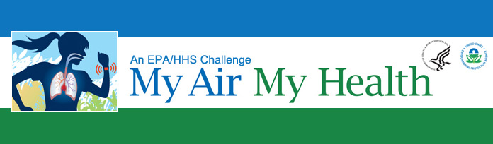 graphic of a woman's lungs as she runs. An EPA/HHS Challenge: My Air My Health