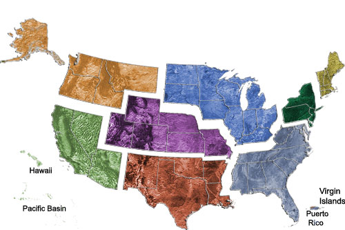 Map of the US showing regions