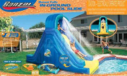 Image description: These inflatable Banzai In-Ground Pool Slides have been recalled by Wal-Mart and Toys R Us because the slide can deflate andthe user can hit his or her head on the ground underneath. One death and one permanent injury have resulted from use of the slide. This is just one example of the many products that are recalled every day. You can stay up to date by checking for recalls by type of product, or you can search to see if specific products have been recalled.