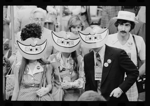 Image description:Politicalparty conventions happen every four years. This photo is from the 1976 Democratic National Convention in New York City. The delegates are wearing Jimmy Carter smile masks. View more images from political conventions, including illustrations from the humor and satire magazine Puck. Photo by Warren K. Leffler, U.S. News & World Report, from the Library of Congress Prints and Photographs Division