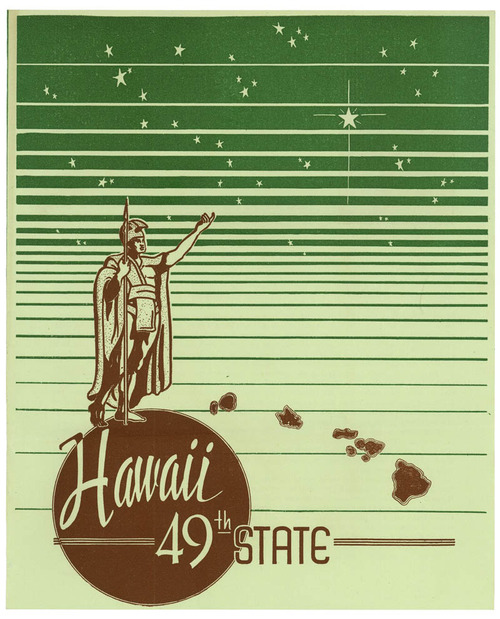 """Image description:Happy Birthday Hawaii! The Presidential Libraries shares this about Hawaii's history:  On August 21, 1959, Hawaii became the 50th state to join the United States of America. Hawaii's journey to becoming a state had started five months prior when President Dwight D. Eisenhower signed the Hawaii Admission Act on March 18, 1959. This cover is from a brochure compiled by the Associated Students of the University of Hawaii that outlines student support for Hawaiian statehood. It features reasons for statehood from students, staff, and a number of American public figures. It was included as part of a statehood petition sent by University of Hawaii students to Representative Hugh Peterson (D-GA), then chairman of the House Committee on Territories. The brochure is titled """"Hawaii: 49th State"""" because Alaska had not yet entered the union. RG 233, Records of the U.S. House of Representatives -From the Eisenhower Library"""