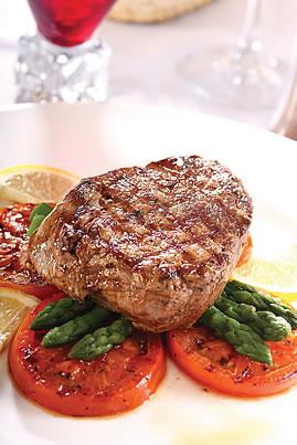 bistec con legumbres