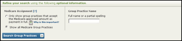 Screenshot of optional group practice search criteria