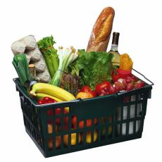 Photograph of groceries in shopping basket