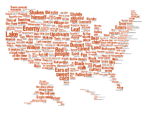 Map of the United States made up of Native American place names translated into English.