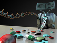 Conceptual illustration showing genetic analysis leading to targeted drugs. (Image by Joshua Stokes, BMC, St. Jude Children's Research Hospital)