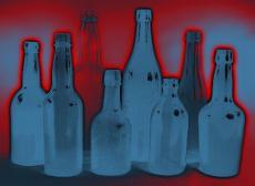 Illustration of various glass bottles