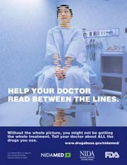 Poster encouraging patients to talk about their drug use with their doctors.