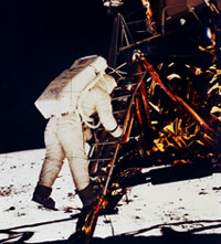 Buzz Aldrin on ladder to lunar surface