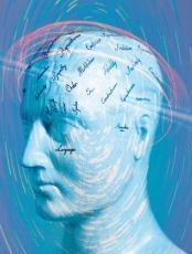 Fotografía de una cabeza con efectos de palabras y fibras ópticas rodeándola
