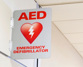 Copyrighted illustration of an AED emergency defibrillator sign.