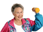 Photo of an old woman exervising with dumbbell.