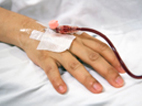 image of hand with an IV