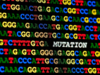 """image of illustration of DNA letters 'GATC' with the word """"mutation"""" in the middle"""