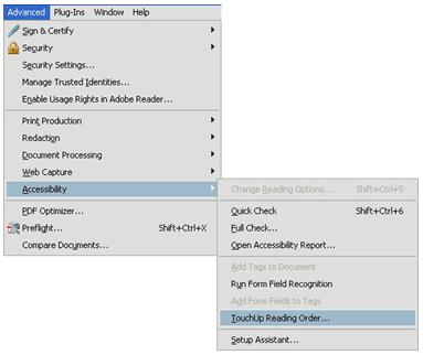 Adobe menus to display Touch-up Reading Order