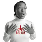 Photo of a woman experiencing shortness of breath, illustrated by a super imposed sketch of disproportionately shrunken lungs.<sp!>Aprenda más sobre falta de aire como síntoma del ataque del corazón<!sp>