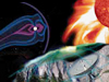 Graphic representing the various Heliophysics disciplines; Sun, Earth, Space Weather, Near-Earth Space and the Magnetosphere.