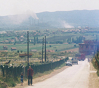Factory, homes and fields in Kosovo