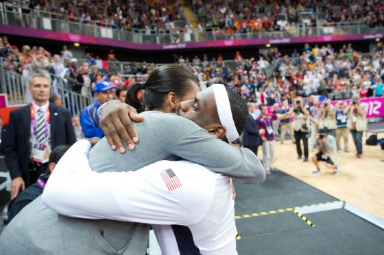 First Lady Michelle Obama Hugs LeBron James