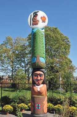 Healing Totem Pole in front of the National Library of Medicine