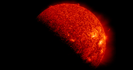 SDO is eclipsed by Earth twice annually. This image is from Sept. 6, 2012.