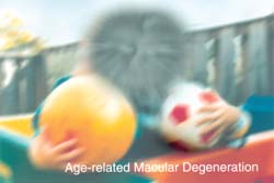 A photograph of two boys blurred to represent eyesight with Age-Related Macular Degeneration.