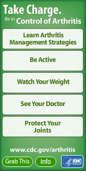 Take Charge. Be in Control of Arthritis widget. Flash Player 9 or above is required.