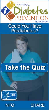 CDC Prediabetes Screening Test Widget. Flash Player 9 or above is required.