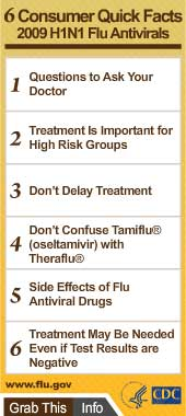 6 Consumer Quick Facts for 2009 H1N1 Flu Antivirals. Flash Player 9 is required.